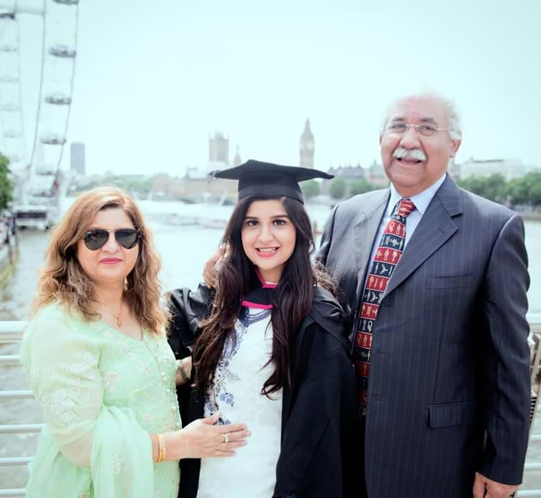 Fatimah Haroon with Parent on graduation day